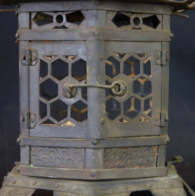 Edo Japanese Tall Antique Lantern with Double Doors and Fine Details For Sale