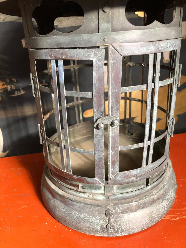 Hand-Crafted Japanese Tall Antique Lantern with Double Doors and Fine Details For Sale