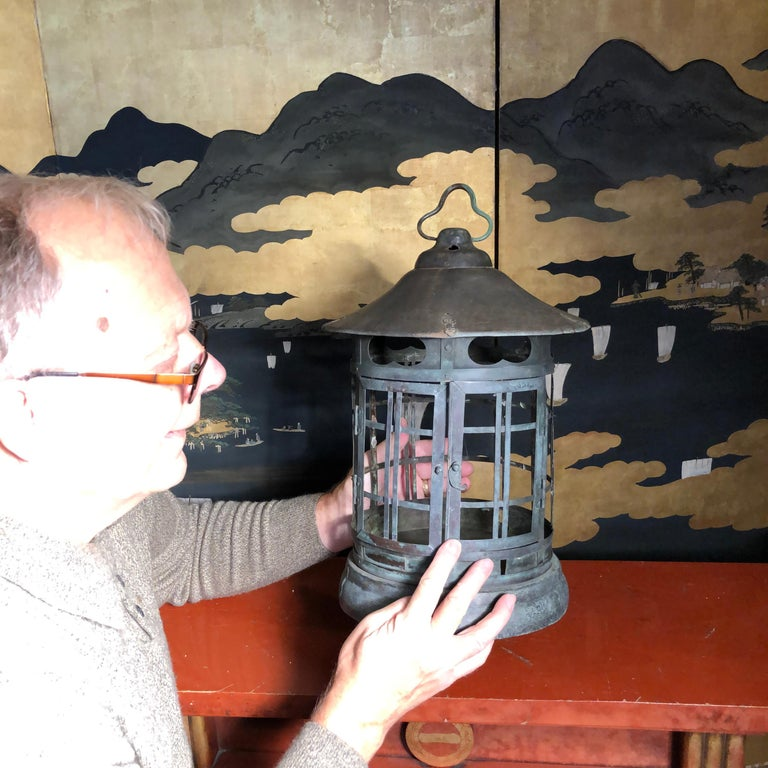 Bronze Japanese Tall Antique Lantern with Double Doors and Fine Details For Sale
