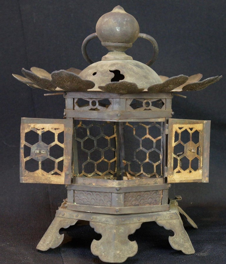 Japanese Tall Antique Lantern with Double Doors and Fine Details For Sale 1