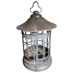 Japanese Tall Antique Lantern with Double Doors and Fine Details