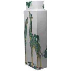 Japanese Tall Kutani Hand-Painted Decorative Porcelain Vase by Master Artist