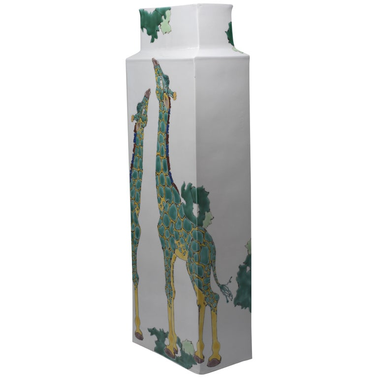 Japanese Tall Kutani Hand-Painted Decorative Porcelain Vase by Master Artist For Sale