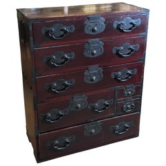 Japanese Tansu Iron Mounted Chest