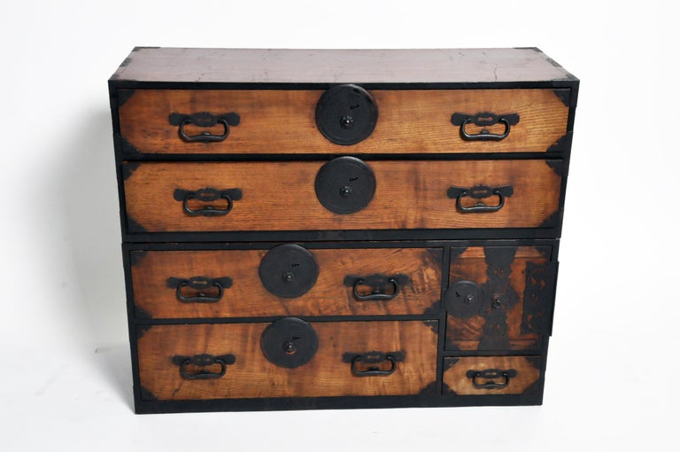 20th Century Japanese Tansu with Hand-Forged Hardware For Sale
