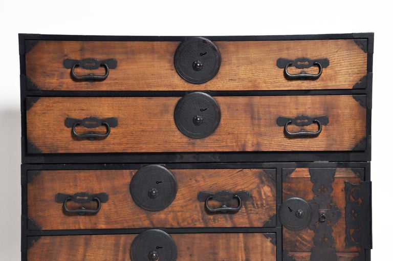 Pine Japanese Tansu with Hand-Forged Hardware For Sale