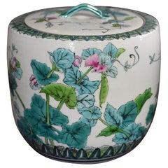 Japanese Green Porcelain Mizusashi Water Jar by Contemporary Master Artist