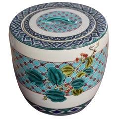 Japanese Green Blue Tea Ceremony Mizusashi Water Jar by Master Porcelain Artist