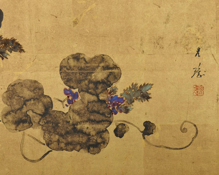 Hand-Painted Japanese Tea-Ceremony Screen, Wagtail and Chrysanthemum by Ishizaki Koyo For Sale