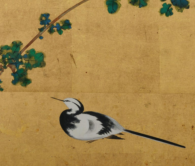 Japanese Tea-Ceremony Screen, Wagtail and Chrysanthemum by Ishizaki Koyo In Good Condition For Sale In Kyoto, JP
