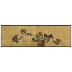 Japanese Tea-Ceremony Screen, Wagtail and Chrysanthemum by Ishizaki Koyo