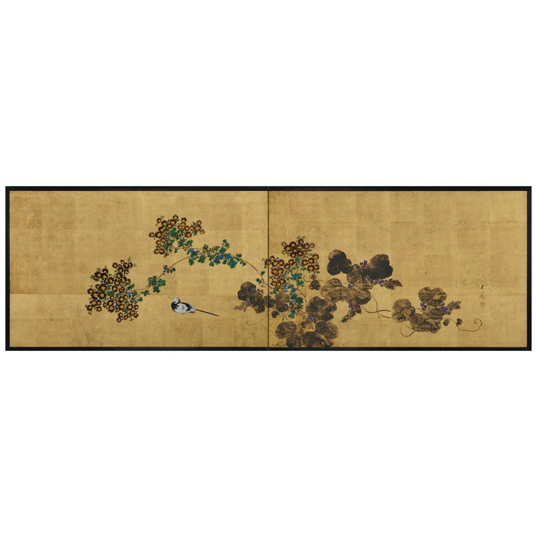 Japanese Tea-Ceremony Screen, Wagtail and Chrysanthemum by Ishizaki Koyo For Sale