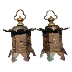 "Japanese Tea Garden Gilt Gold ""Lotus Flower"" Lanterns Pair, Handsome"