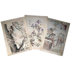 "Japanese Three ""Birds & Flowers"" Woodblock Prints, Kono Bairei 1899"