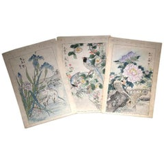 "Japanese Three ""Water Fowl & Flowers"" Large Woodblock Prints, Kono Bairei, 1899"