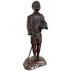 Japanese Tokyo School Bronze Okimono of a Farmer, Meiji Period