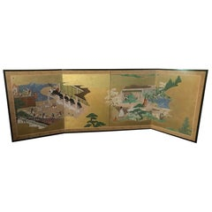 "Japanese Tosa School Four-Panel Folding Byobu Screen ""Tales of Genji"", 1800 Edo"