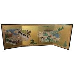 "Japanese Tosa School Four-Panel Folding Byobu Screen ""Tales of Genji"", 1800 Edo"