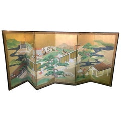 "Japanese Tosa School Six-Panel Folding Byobu Screen ""Tales of Genji"", 1770 Edo"