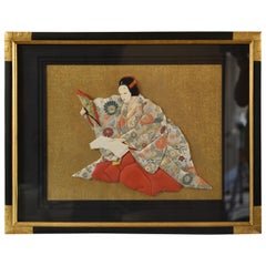 Japanese Framed Traditional Brocade Contemporary Hand-Crafted Decorative Art