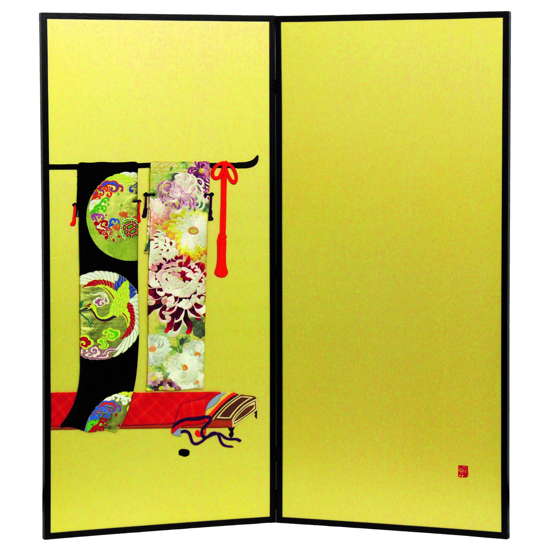 Japanese Traditional  Brocade Silk Two-Panel Folding Screen