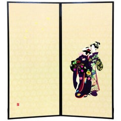 Japanese Traditional Brocade Silk Two-Panel Folding Screen