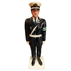 Japanese Traffic Policeman Life-Size Sculpture, Painted Fiberglass, Midcentury