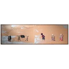 "Japanese ""Treasure Rabbits"" Two-Panel Screen Taisho Period, 1915"