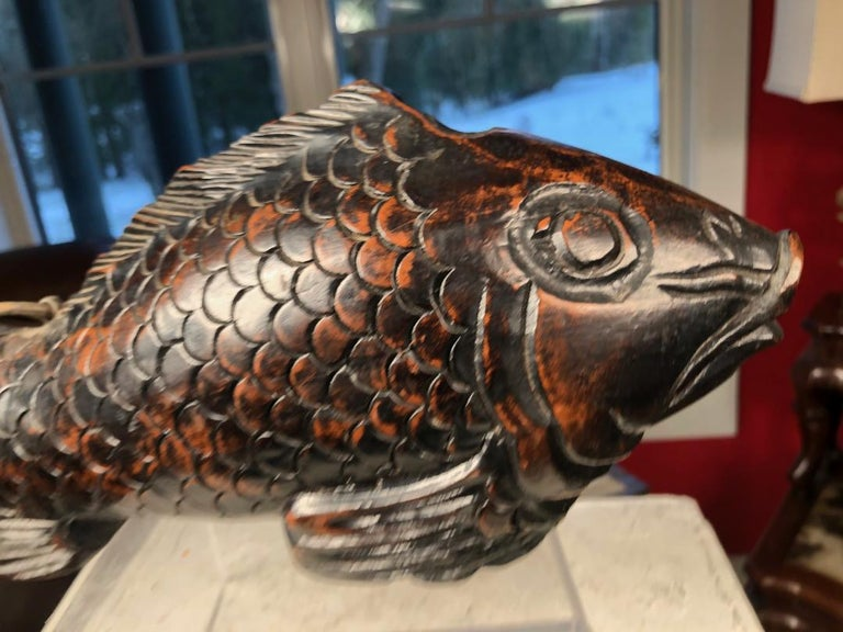 Japanese Trio Three Antique Hand Carved Wood Koi Good Fortune Fish, 19th Century For Sale 7