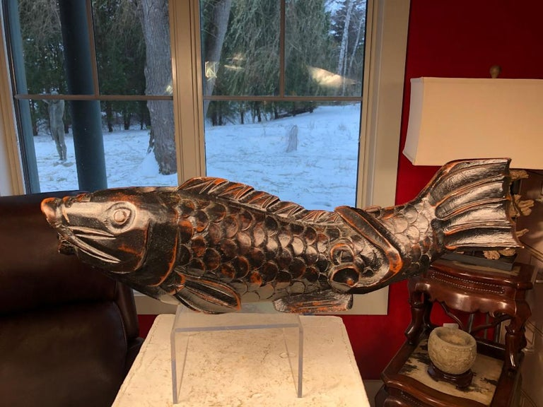 Hand-Carved Japanese Trio Three Antique Hand Carved Wood Koi Good Fortune Fish, 19th Century For Sale
