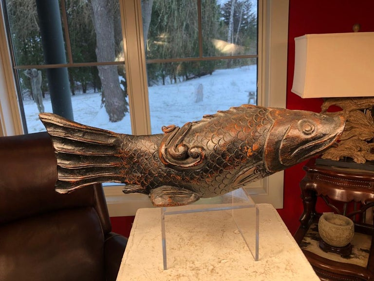 Japanese Trio Three Antique Hand Carved Wood Koi Good Fortune Fish, 19th Century In Good Condition For Sale In Shelburne, VT