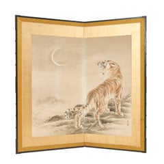 Japanese Two Fold Painted Paper Screen of a Tiger, 20th Century