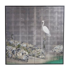 Japanese Two Fold Silver Screen of a Stork and Bound Stones, 20th Century
