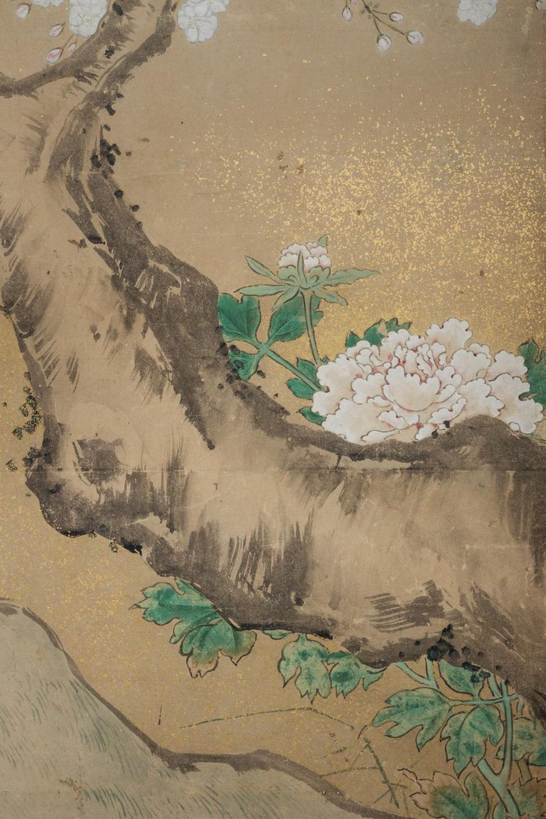 Japanese Two-Panel Screen Peony and Cherry In Good Condition For Sale In Hudson, NY