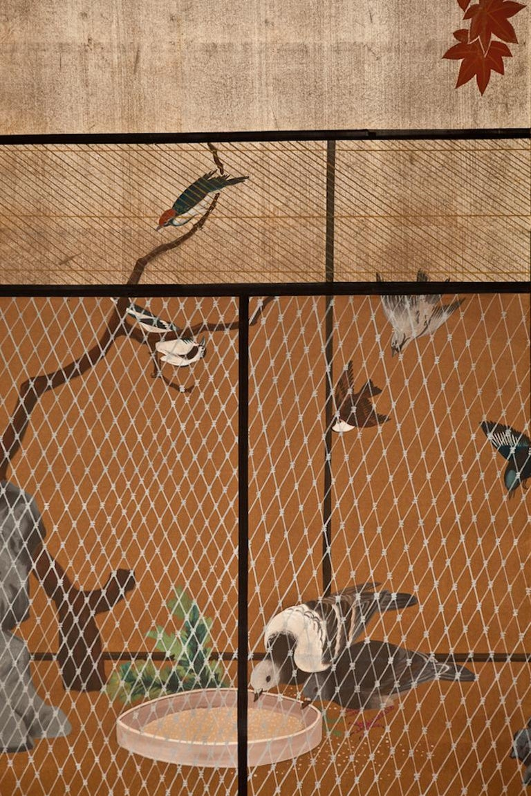 Japanese Two Panel Screen Aviary Shaded by A Maple Tree In Good Condition For Sale In Hudson, NY