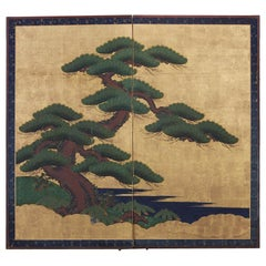 Japanese Two-Panel Edo Screen of Ancient Pine