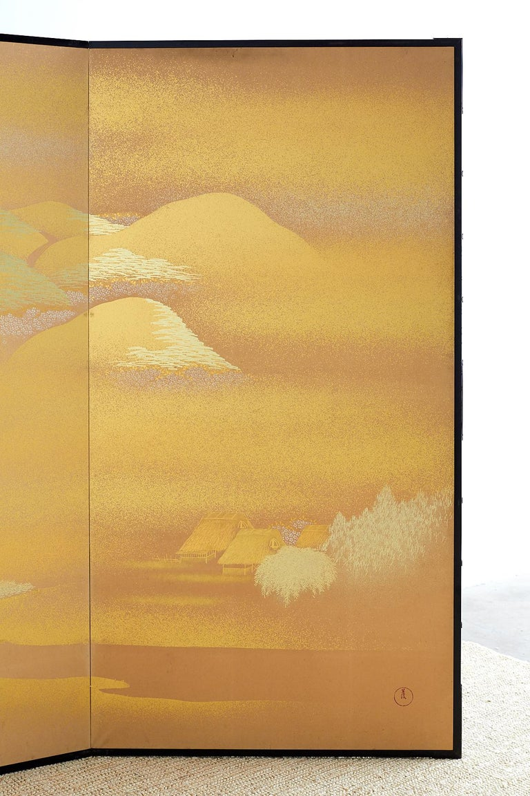Japanese Two-Panel Gold Leaf Screen by Yoshikawa For Sale 2