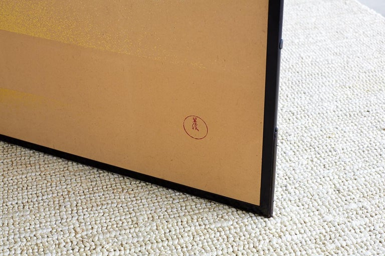 Japanese Two-Panel Gold Leaf Screen by Yoshikawa For Sale 3