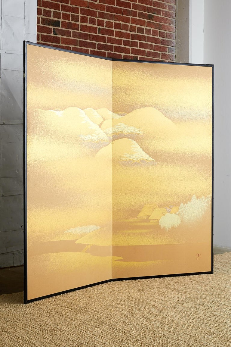 Japanese Two-Panel Gold Leaf Screen by Yoshikawa For Sale 5