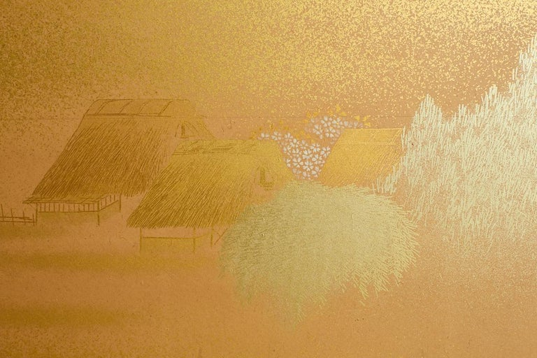 Japanese Two-Panel Gold Leaf Screen by Yoshikawa For Sale 6