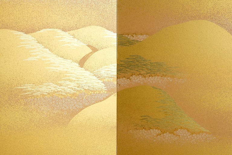 Japanese Two-Panel Gold Leaf Screen by Yoshikawa For Sale 8