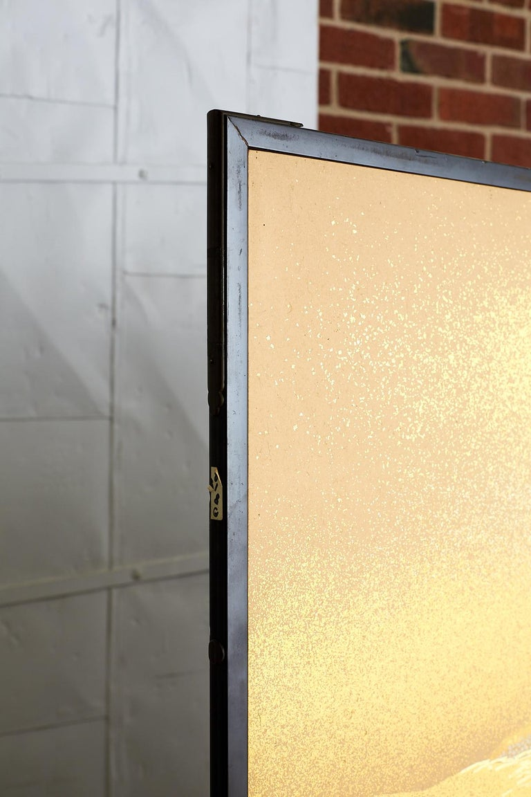 Japanese Two-Panel Gold Leaf Screen by Yoshikawa For Sale 9