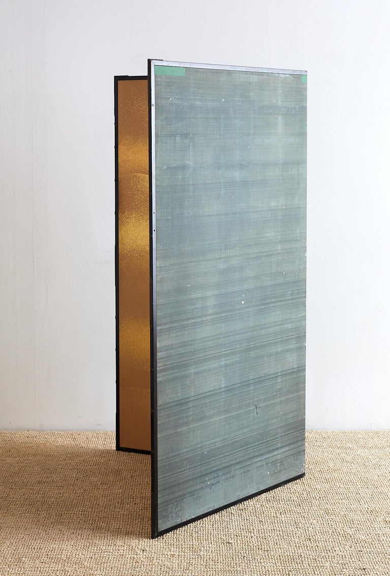 Japanese Two-Panel Gold Leaf Screen by Yoshikawa For Sale 10
