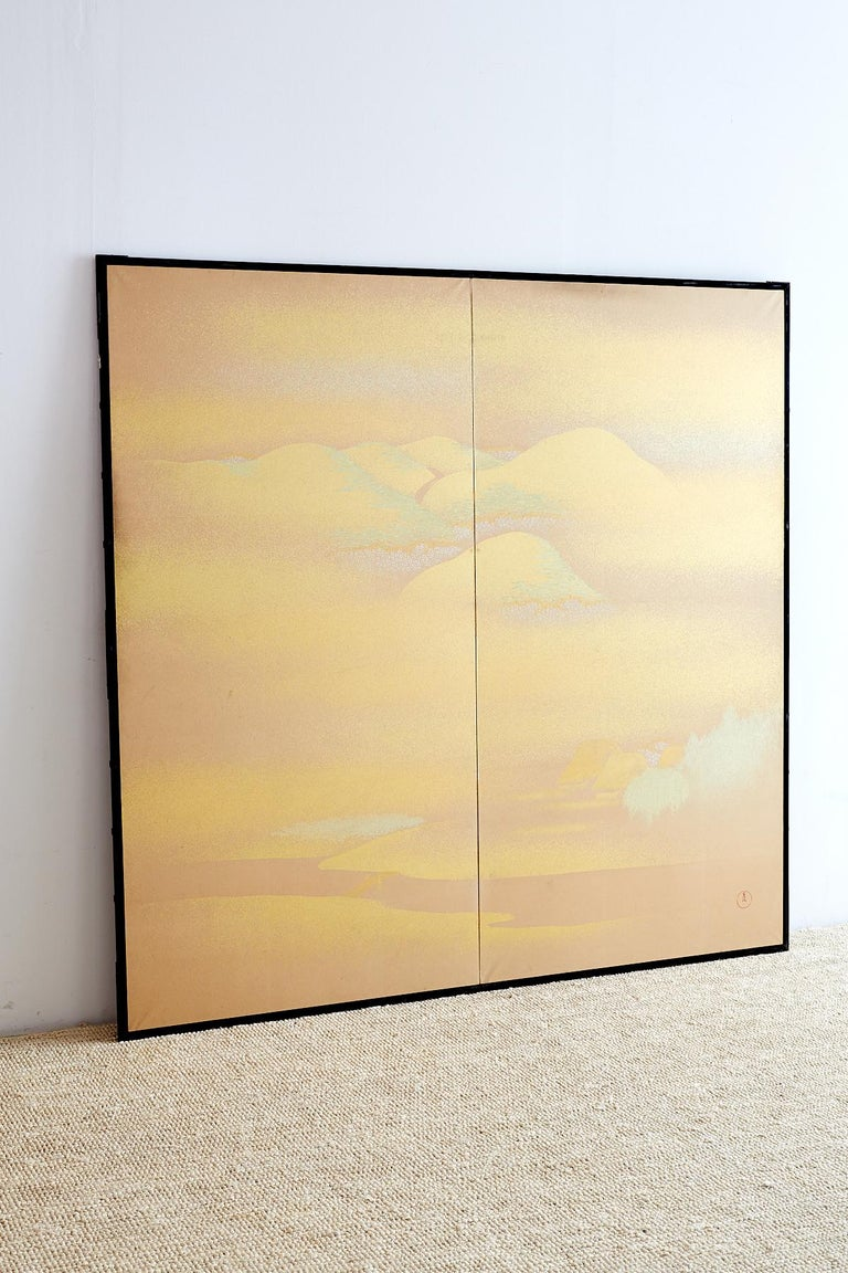 Meiji Japanese Two-Panel Gold Leaf Screen by Yoshikawa For Sale