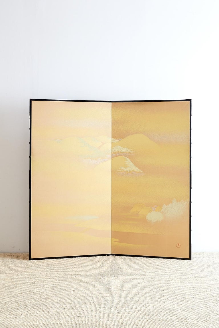 Chinese Japanese Two-Panel Gold Leaf Screen by Yoshikawa For Sale
