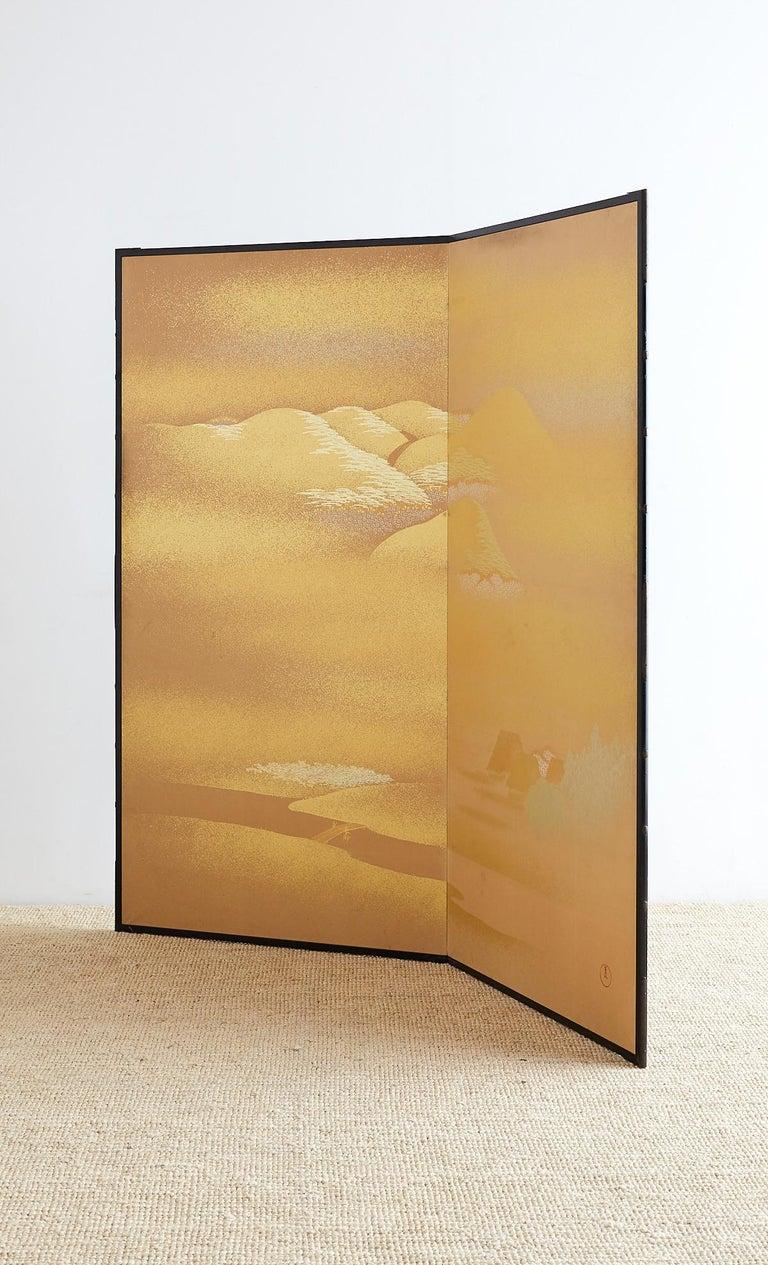 Ebonized Japanese Two-Panel Gold Leaf Screen by Yoshikawa For Sale
