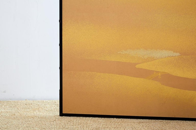Brass Japanese Two-Panel Gold Leaf Screen by Yoshikawa For Sale