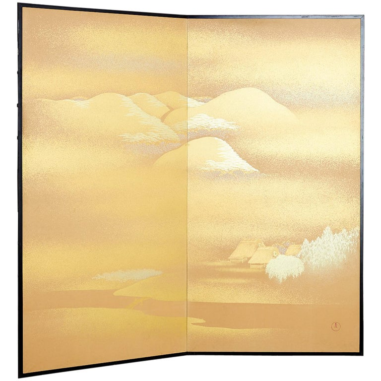 Japanese Two-Panel Gold Leaf Screen by Yoshikawa For Sale