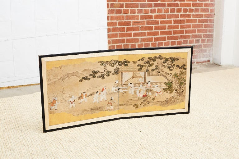 Japanese Two-Panel Kano School Meiji Period Screen For Sale 4