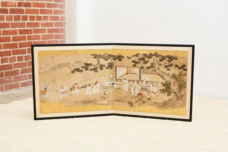 Japanese Two-Panel Kano School Meiji Period Screen For Sale 5